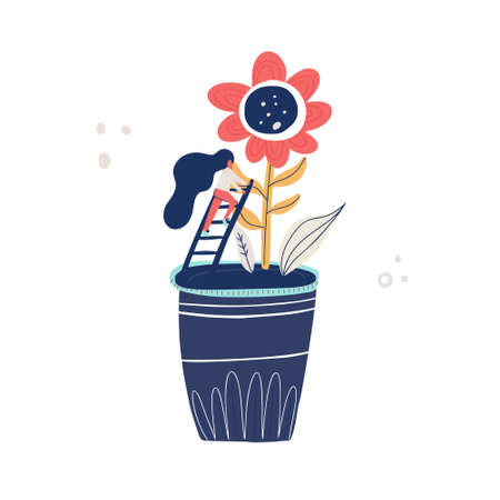 Illustration pour Small woman and giant flower - gardening concept. Vector illustration with cartoon characters taking care of a plant. - image libre de droit