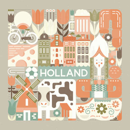 Illustration pour Vector illustration with different symbols of Holland made in modern vector style. Square concept. - image libre de droit