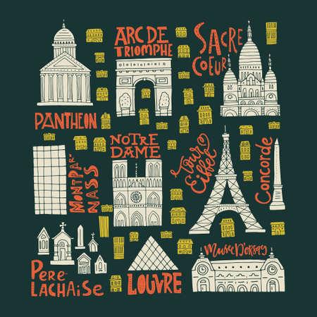 Clipart collection with Paris symbols