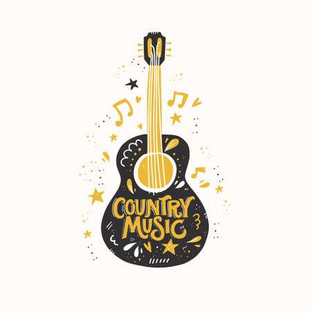 Illustration pour Illustration with acoustic guitar and hand lettering. Great element for music festival or t-shirt. Vector concept. - image libre de droit