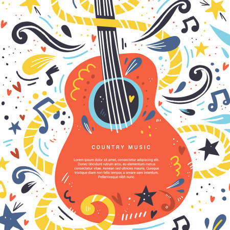Illustration for Illustration with acoustic guitar and place for your text on it. Great element for music festival or banner made in vector. - Royalty Free Image