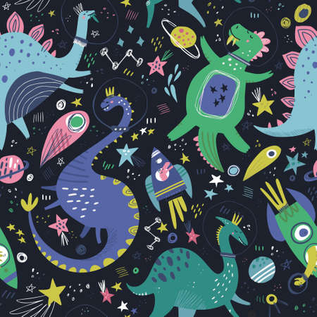 Dinosaurs in space hand drawn color vector seamless pattern. Dino girls characters with planets and comets cartoon texture. Sketch cute Jurassic reptiles. Wrapping paper, kids textile, background fill