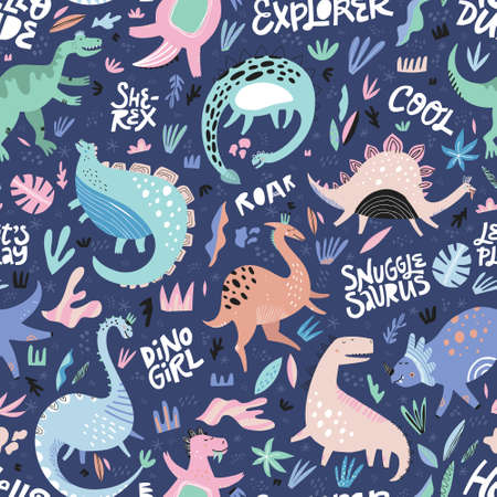 Illustration for Cute dinosaurs hand drawn color vector seamless pattern. Dino characters cartoon texture with lettering. Scandinavian illustration. Sketch Jurassic reptiles. Wrapping paper, textile, background fill - Royalty Free Image