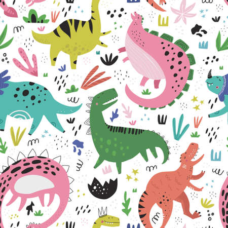 Illustration for Cute dinosaurs hand drawn color vector seamless pattern. Dino characters cartoon texture. Prehistoric scandinavian illustration. Sketch Jurassic reptiles. Web, wrapping paper, textile, background fill - Royalty Free Image