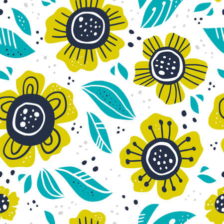 Illustration pour Green flowers hand drawn color vector seamless pattern. Abstract camomiles with leaves, sketch drawing. Scandinavian style cartoon floral texture. Wrapping paper, textile, background fill - image libre de droit
