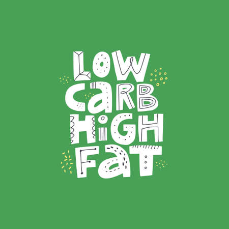 Illustration pour Low carb high fat white vector lettering. Keto diet flat hand drawn illustration. Ketogenic eating slogan, phrase on green background. Healthy nutrition scandinavian style poster, banner design - image libre de droit