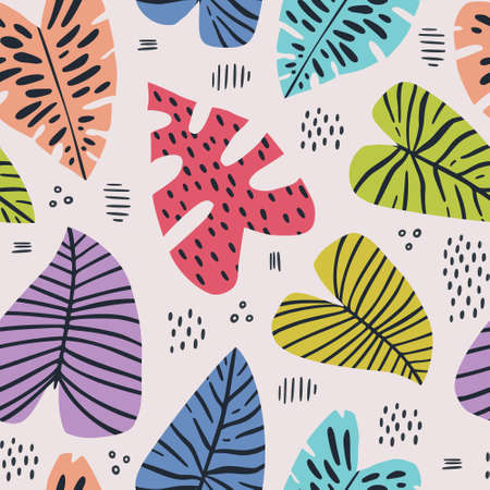 Illustration for Banana and monstera leaves hand drawn seamless pattern. Tropical, exotic plant drawing. Backdrop with houseplants. Multicolor stylized leaves. Botanical wrapping paper, textile, background flat design - Royalty Free Image