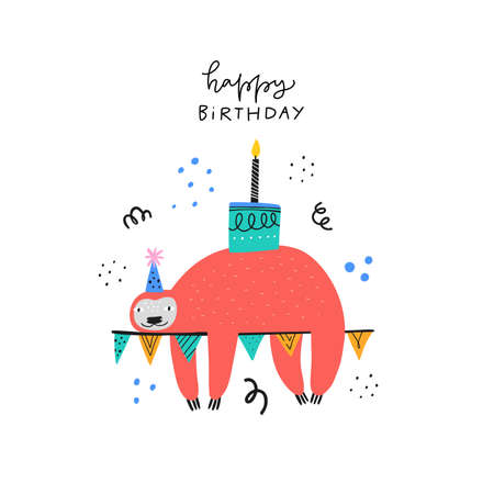 Illustration for Happy birthday wishes cute greeting card template. Adorable sloth with bday cake cartoon illustration. Funny animal in party hat with handwritten lettering for childish postcard, poster design - Royalty Free Image