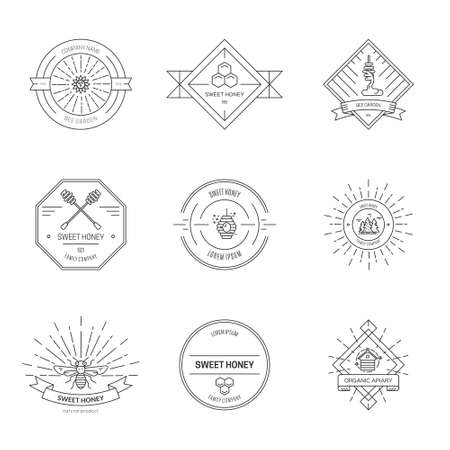 Illustration for Beekeeping company linear label vector - Royalty Free Image
