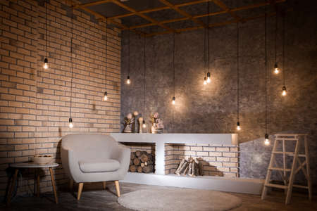 Photo pour Contemporary design of living room. Loft style - image libre de droit