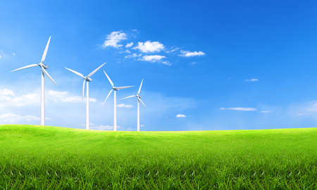 Foto per Renewable energy with wind turbines. Wind turbine in green hills. Ecology environmental background for presentations and websites. Beautiful wallpaper. Landscape with hills and wind turbines. Concept - Immagine Royalty Free