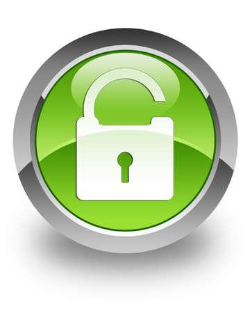 Photo pour Unlock icon on green glossy button - image libre de droit