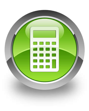 Calculator icon on green glossy button