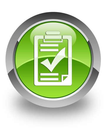 Checklist icon on green glossy button