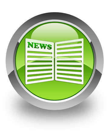 News paper icon on green glossy button