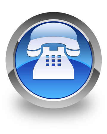 Telephone icon on blue glossy button