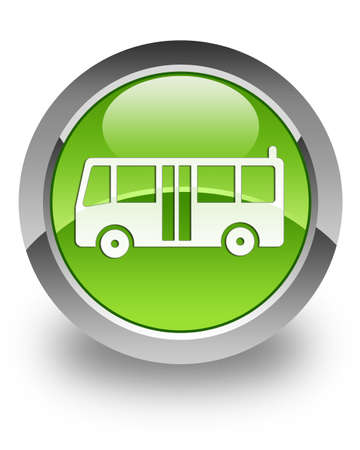 Bus icon on glossy green round button