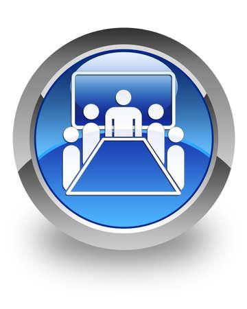 Foto de Meeting room icon on glossy blue round button  - Imagen libre de derechos