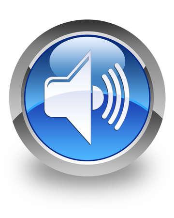 Volume icon on glossy blue round button
