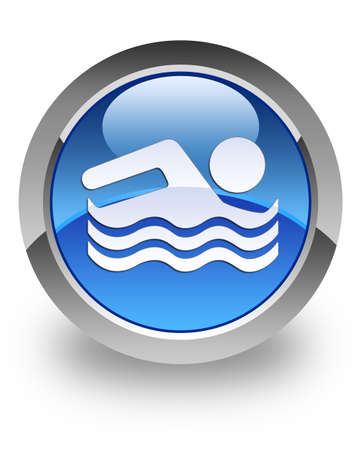 Swimming pool icon on glossy blue round button