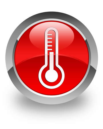 Photo for Thermometer icon on glossy red round button - Royalty Free Image