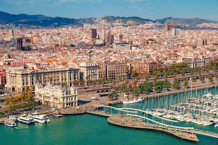 Photo for Barcelona skyline, Sagrada Familia is visible. - Royalty Free Image