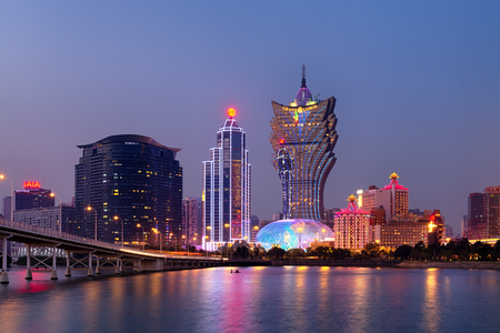 Macao, Macau S.A.R - November 16,2014: Night Macao Skyline, including Casinos such as, The Grand Lisboa and  Wynn. Gambling in Macau has been legal since the 1850s when the Portuguese government legalised the activity in the colony.