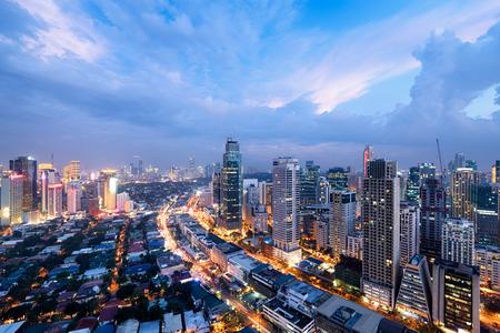Foto für Makati City Skyline at night. Manila, Philippines. - Lizenzfreies Bild