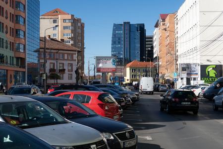 Photo for Sibiu, Romania - 5 Nov, 2019: Traffic in the downtown of Sibiu, Romania. - Royalty Free Image