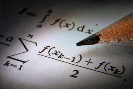 Writing math equations on a sheet of paper in monitor