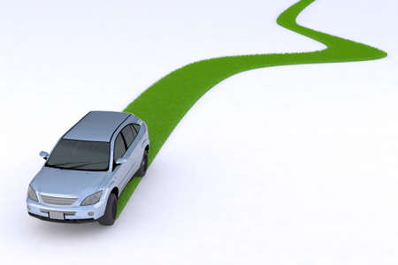Photo for green car, the way of the future, 3d illustration - Royalty Free Image