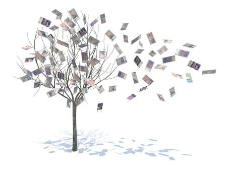 tree with leaves falling notes 3d illustration