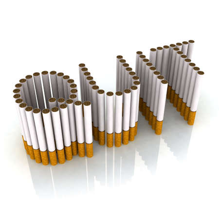 written quit made with cigarettes, 3d illustration