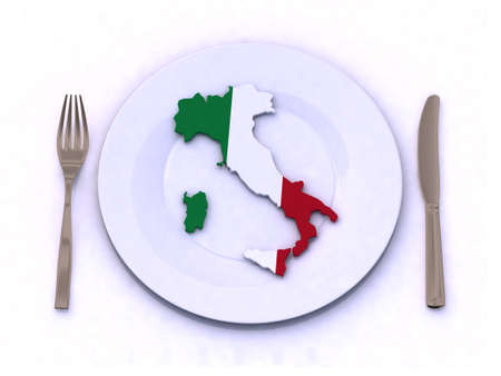 plate with italy map 3d illustration