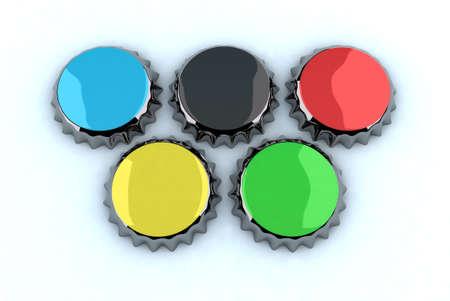 metal cap forming Olympic rings, 3d illustration