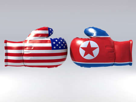 Boxing gloves with Usa and North korea flag, 3d illustration