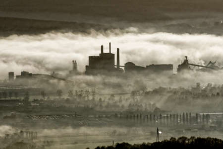 Factory in the mist in Pont-de-lArche