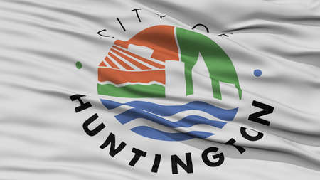 Closeup of Huntington City Flag, Waving in the Wind, West Virginia State, United States of America