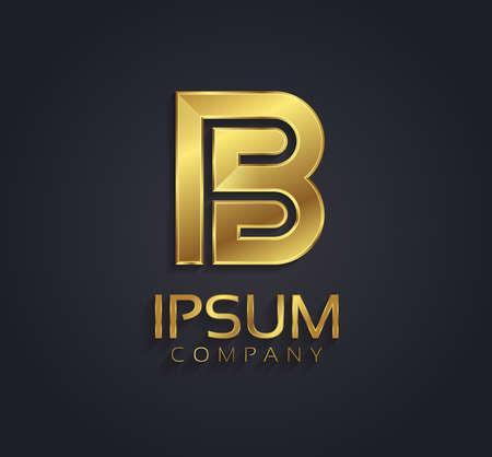 Beautiful vector graphic gold alphabet letter B symbol