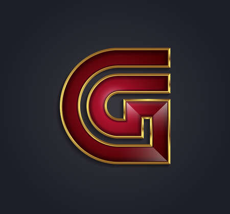 Beautiful vector graphic ruby alphabet with gold rim / letter G / symbol