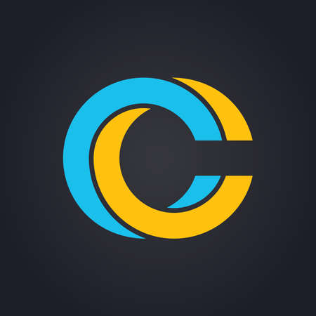 Vector graphic elegant impossible alphabet symbol in two colors . Letter C