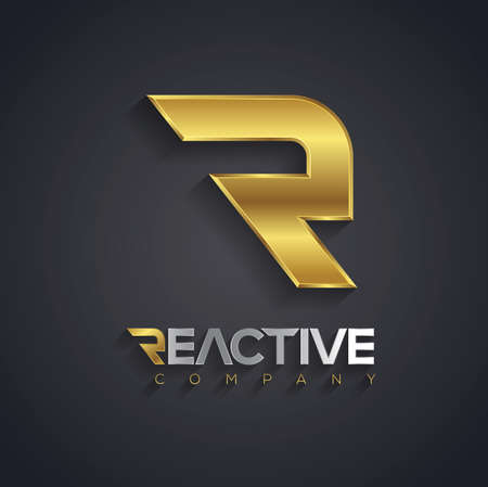 Vector graphic golden R letter symbol for your company with sample text