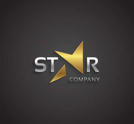Vector graphic silver and gold star sign with lightning symbol