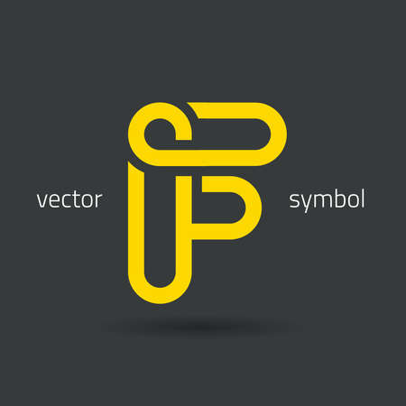 graphic decorative design alphabet / letter F / symbol