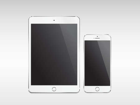 Illustration pour Realistic modern tablet and phone with empty screen on white background - image libre de droit