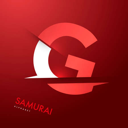 Vector graphic samurai themed cutted alphabet - Letter g
