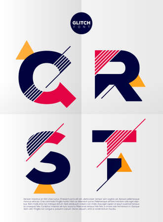 Illustration pour Typographic alphabet in a set. Contains vibrant colors and minimal design on a minimal abstract background - image libre de droit