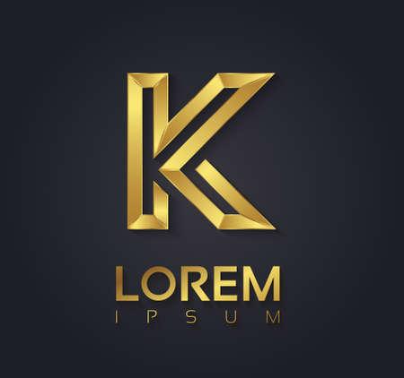 Vector graphic elegant golden font with sample text / symbol / alphabet / Letter K