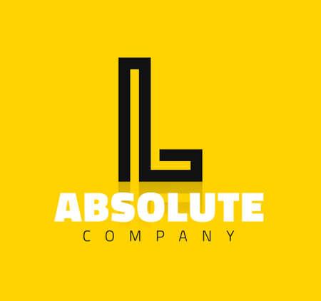 Vector graphic creative line alphabet symbol / Letter L
