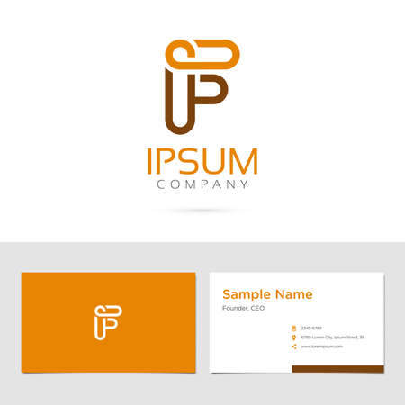 Vector graphic elegant impossible alphabet symbol / identity / business card in two colors / Letter F